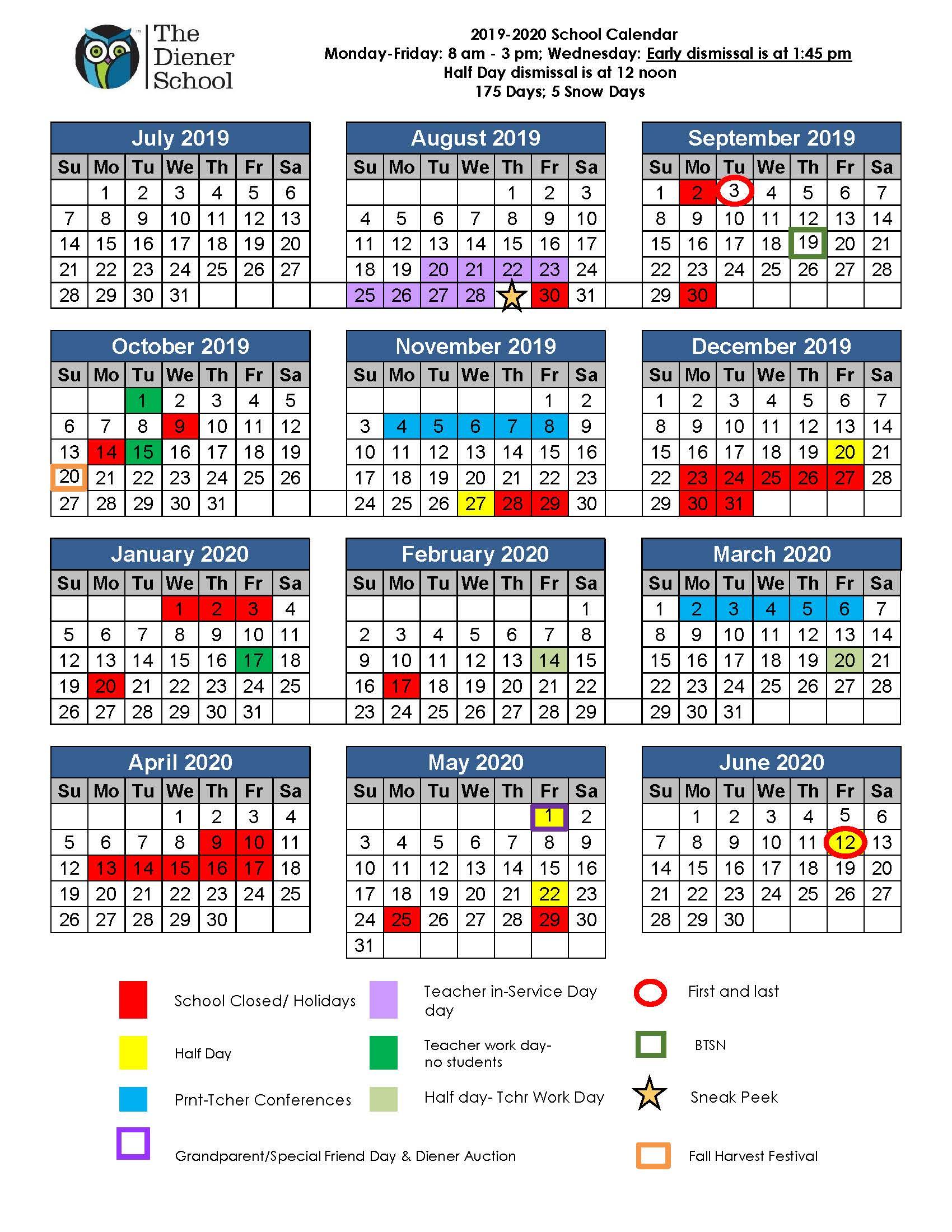 The Diener School Calendar 2019-2020