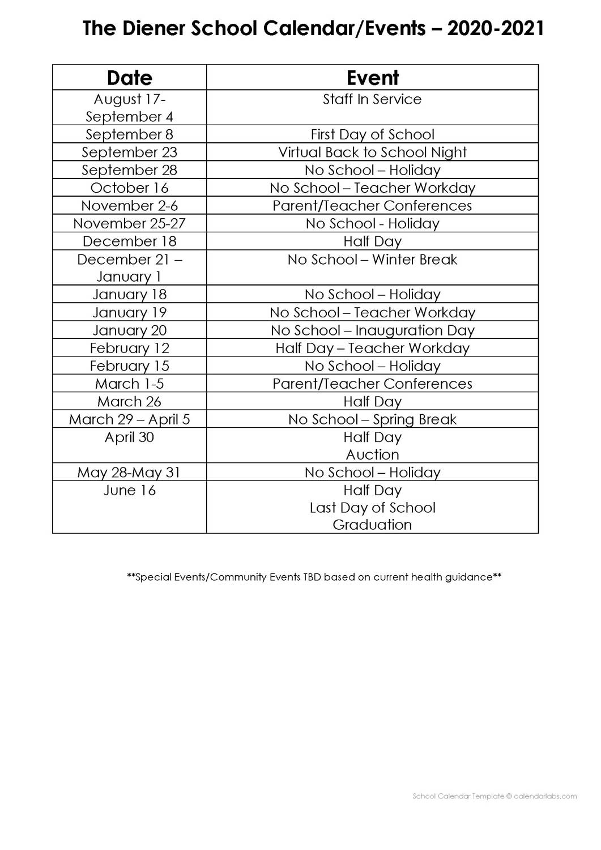 The Diener School Calendar Page 2 Holidays