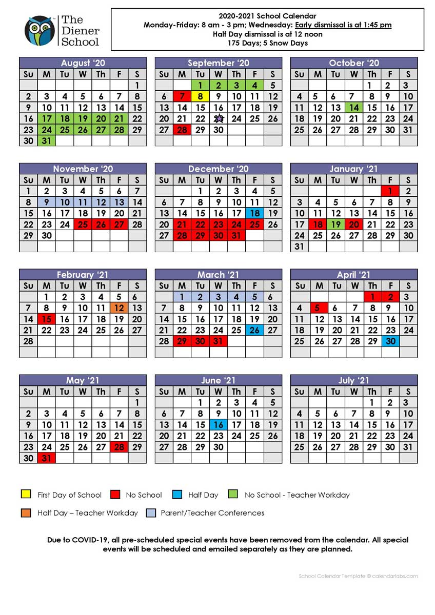 The Diener School 2020-2021 Calendar