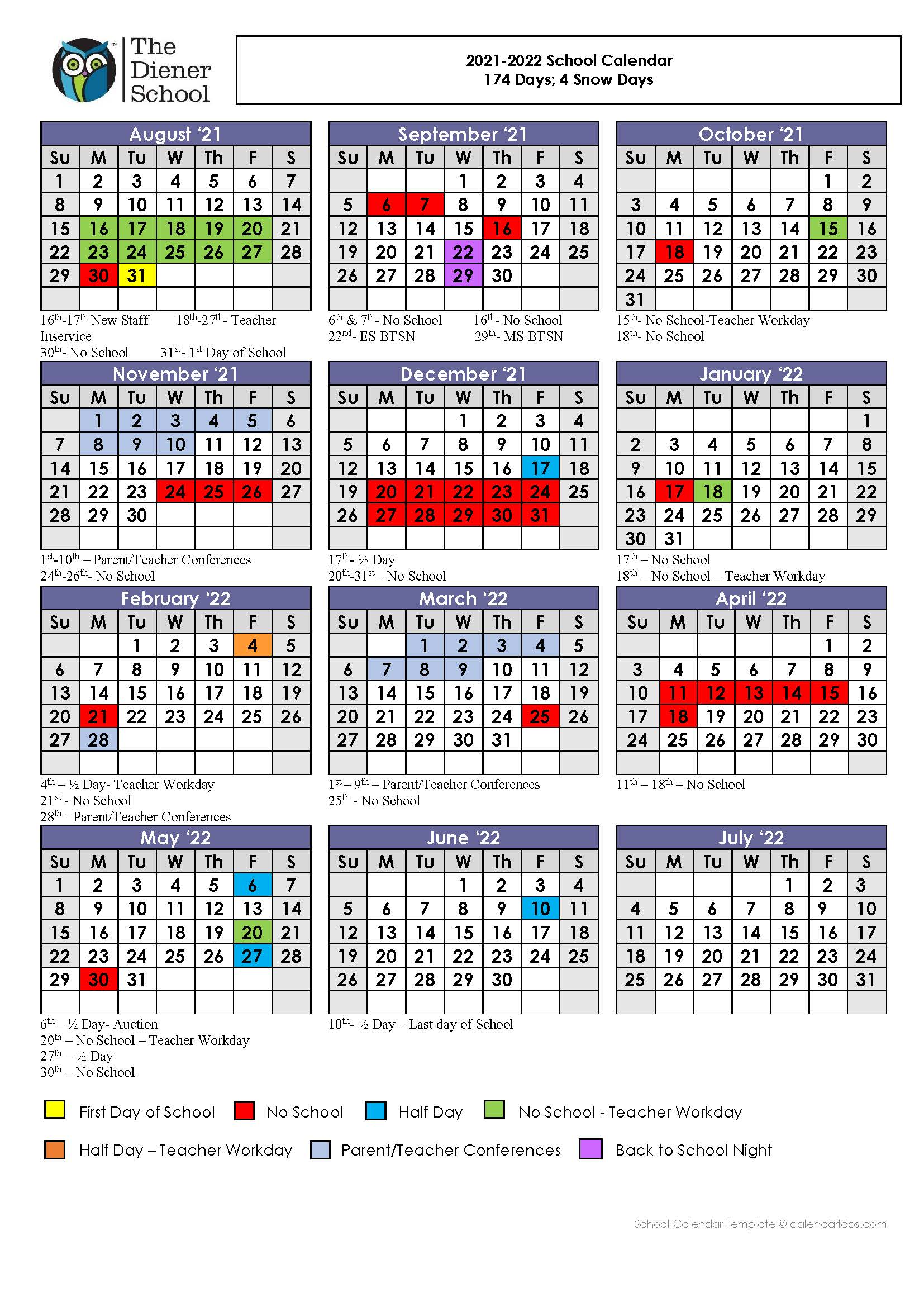 The Diener School Calendar 2021-2022